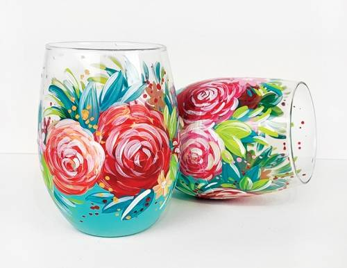 A Teal Stemless Wine Glasses with Roses paint nite project by Yaymaker