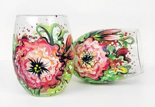 A Blooming Flowers Stemless Wine Glasses paint nite project by Yaymaker