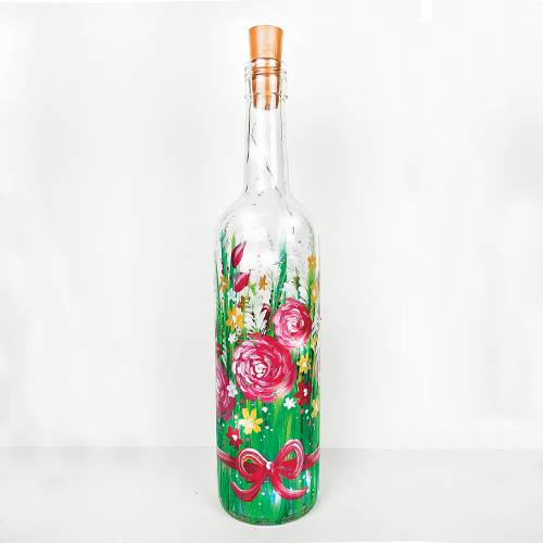 A Field Flowers Wine Bottle with Fairy Lights paint nite project by Yaymaker