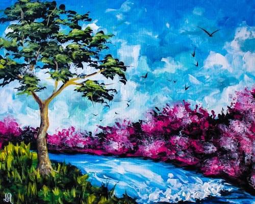A Beautiful Lake Fall paint nite project by Yaymaker