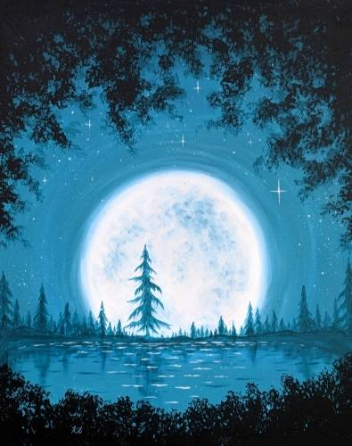 A Teal Moonrise over Pine Lake paint nite project by Yaymaker