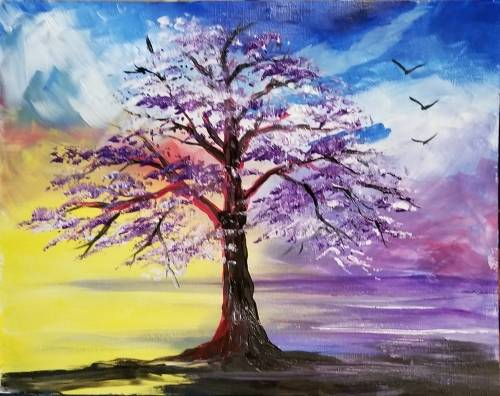 A Lavender Tree at Sunrise paint nite project by Yaymaker