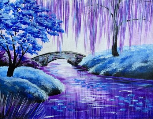 A Tranquil Purple Pond paint nite project by Yaymaker