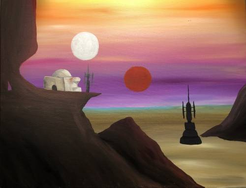 A A Desert Far Far Away paint nite project by Yaymaker