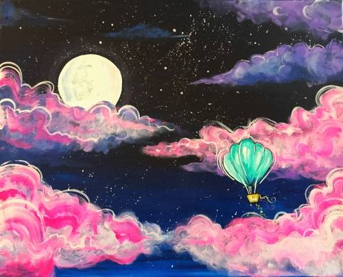A Hot Air Balloon Dreamland paint nite project by Yaymaker