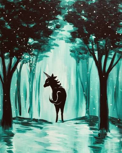 A Magical Unicorn Forest paint nite project by Yaymaker