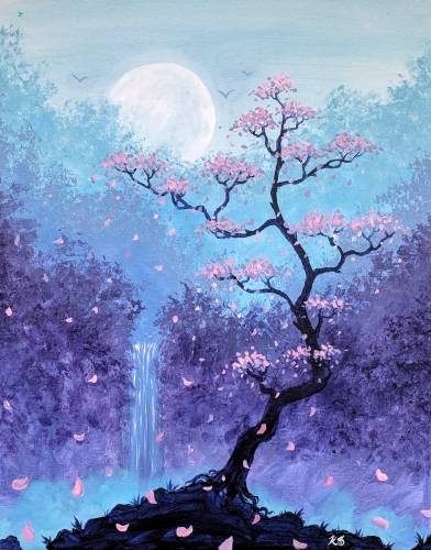 A Twilight Blossoms in the Forest Grove paint nite project by Yaymaker
