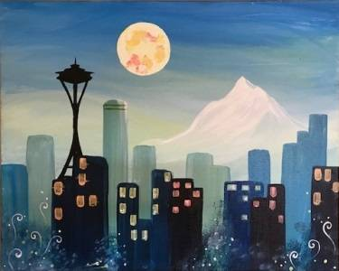 A Funky Seattle Skyline paint nite project by Yaymaker