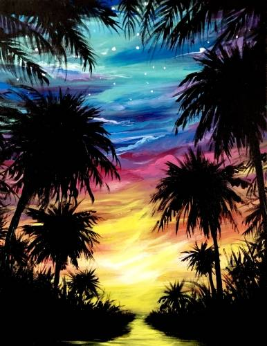 A Tucked Away in the Tropics paint nite project by Yaymaker