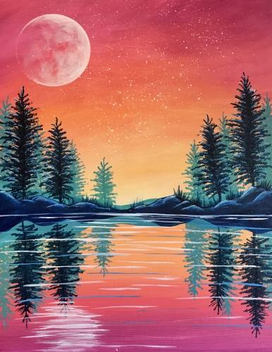 A Colourful Coral Sunset paint nite project by Yaymaker