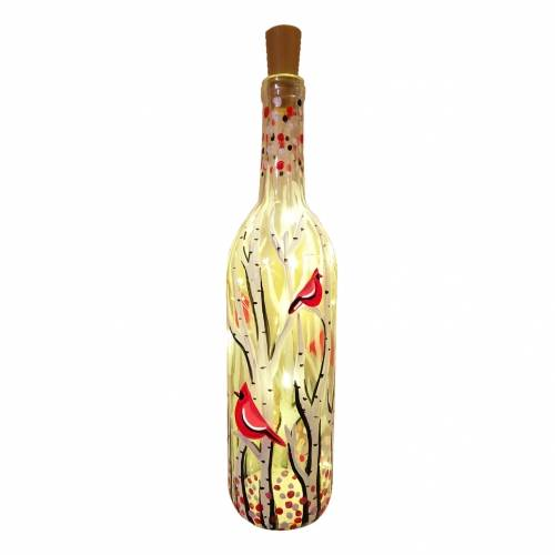 A Whimsical Cardinals Wine Bottle w Fairy Lights paint nite project by Yaymaker