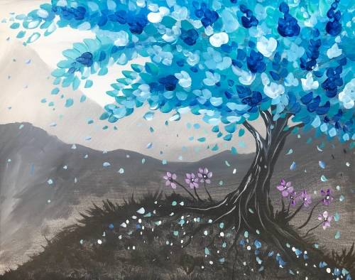 A Teal Tree Dream paint nite project by Yaymaker