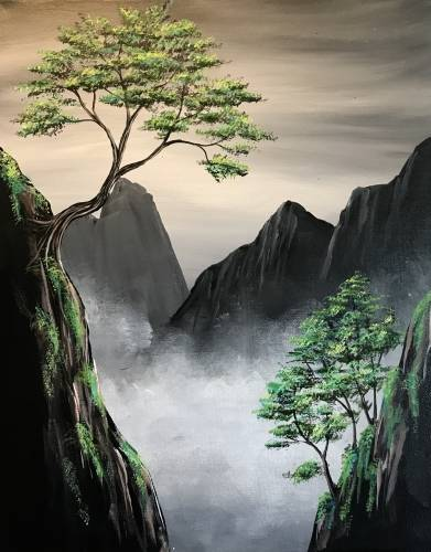 A Misty Ravine paint nite project by Yaymaker