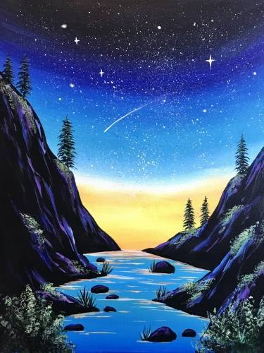A Starry Valley paint nite project by Yaymaker