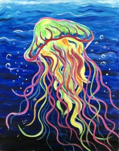 A Rainbow Jellyfish paint nite project by Yaymaker