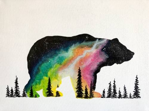 A Spaced Out Bear paint nite project by Yaymaker