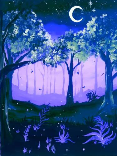 A Midnight Moon Glow Forest paint nite project by Yaymaker