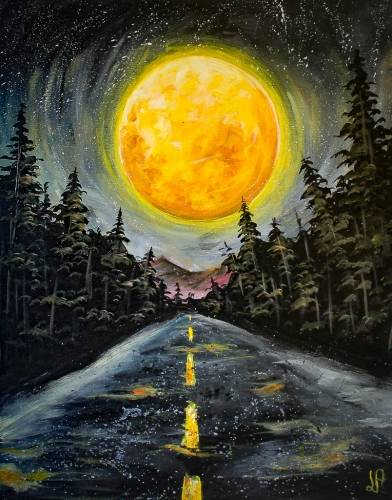 A Moonlit Pinetree Road paint nite project by Yaymaker