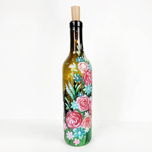 A Roses and Daisies Wine Bottle with Fairy Lights paint nite project by Yaymaker