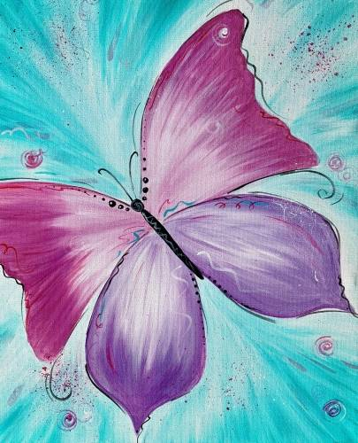 A Beautiful Whimsical Butterfly paint nite project by Yaymaker