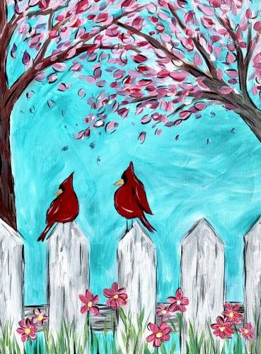 A Spring Cardinals and Cherry Blossoms paint nite project by Yaymaker