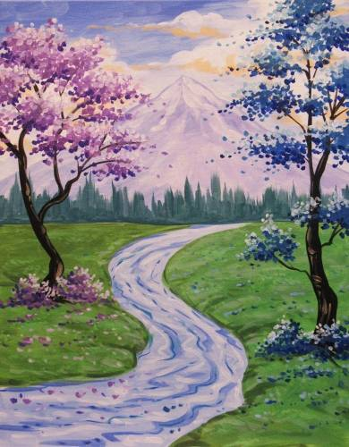 A Blossoms Along the Stream paint nite project by Yaymaker