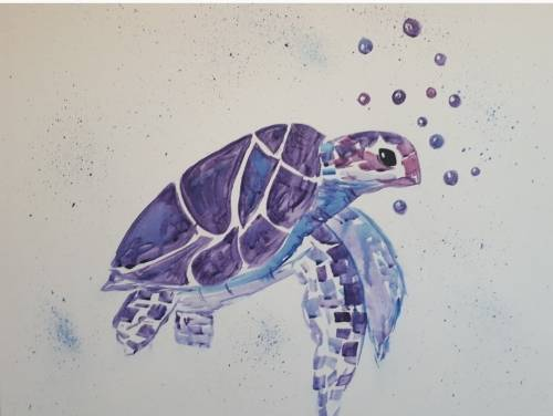 A Posey the Purple Turtle paint nite project by Yaymaker