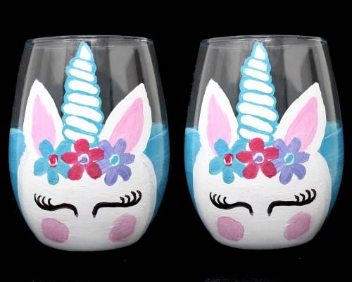 A Unicorn Stemless Wine Glasses paint nite project by Yaymaker