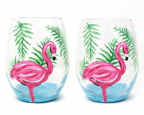 A Flamingo Palm Stemless Wine Glasses paint nite project by Yaymaker