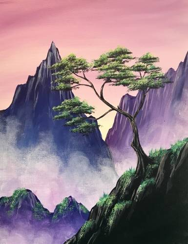 A Misty Mystic Mountains paint nite project by Yaymaker