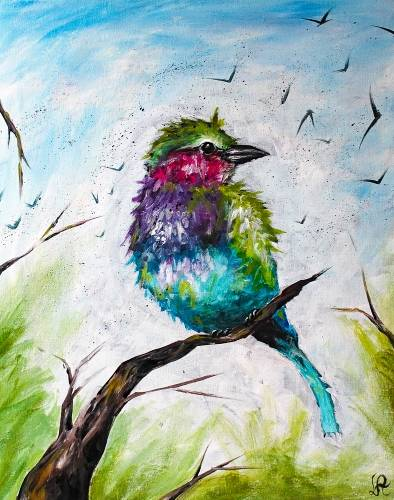 A Colorful Bird paint nite project by Yaymaker