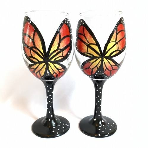 A Beautiful Butterfly Wine Glasses paint nite project by Yaymaker