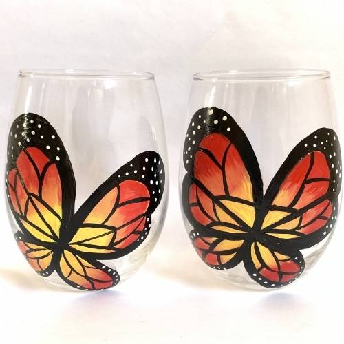 A Mini Beautiful Butterfly Stemless Wine Glasses paint nite project by Yaymaker