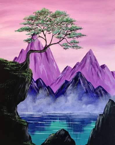 A Mystic Purple Mountains paint nite project by Yaymaker