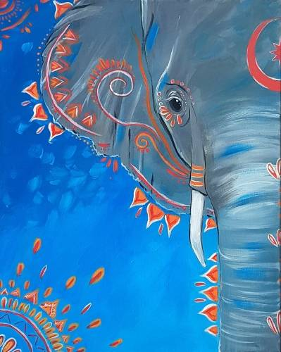 A Bright Boho Elephant paint nite project by Yaymaker