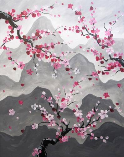 A Mountain Hill Blossoms paint nite project by Yaymaker