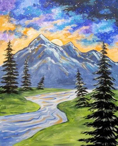 A Galaxy Sunset Peak paint nite project by Yaymaker