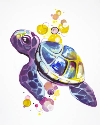 A Bubbles The Turtle Rainbow Friend paint nite project by Yaymaker