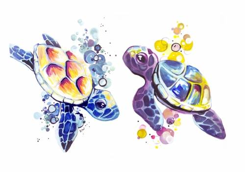 A Bubbles The Turtle  Partner Painting paint nite project by Yaymaker