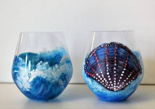 A Ocean Breeze Stemless Wine Glasses paint nite project by Yaymaker