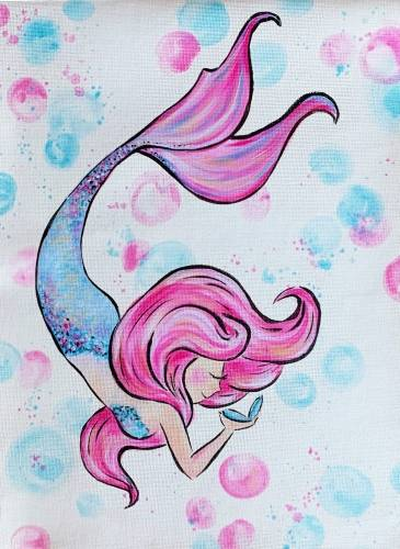 A Pink and Blue Mermaid II paint nite project by Yaymaker