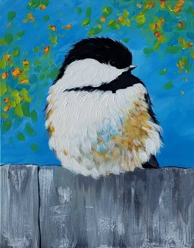 A Spring Chickadee paint nite project by Yaymaker
