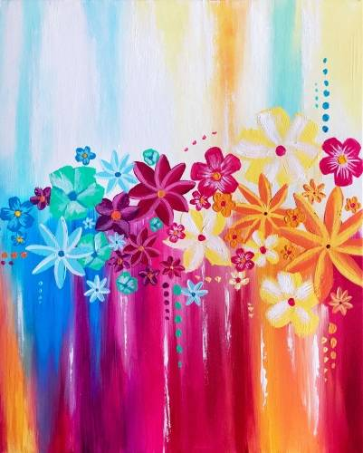 A Floral Rainbow paint nite project by Yaymaker