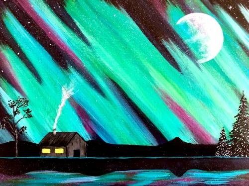 A Cabin under the Aurora Moon paint nite project by Yaymaker