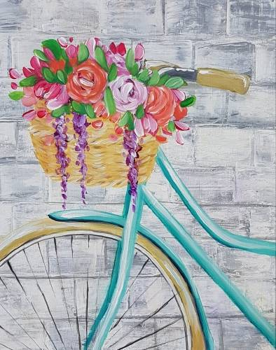 A Bicycle Blossoms paint nite project by Yaymaker