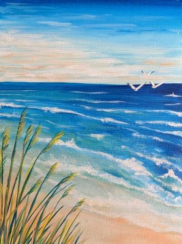 A Sun Sand and Waves paint nite project by Yaymaker