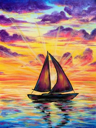 A Sailing Sunset Silhouette paint nite project by Yaymaker