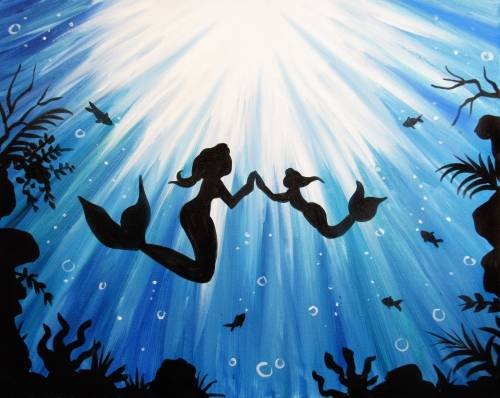 A Mother and Daughter Mermaid paint nite project by Yaymaker