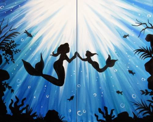 A Mother and Daughter Mermaid Partner Painting paint nite project by Yaymaker