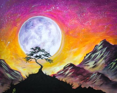 A Moonlit Mountain Sunrise paint nite project by Yaymaker